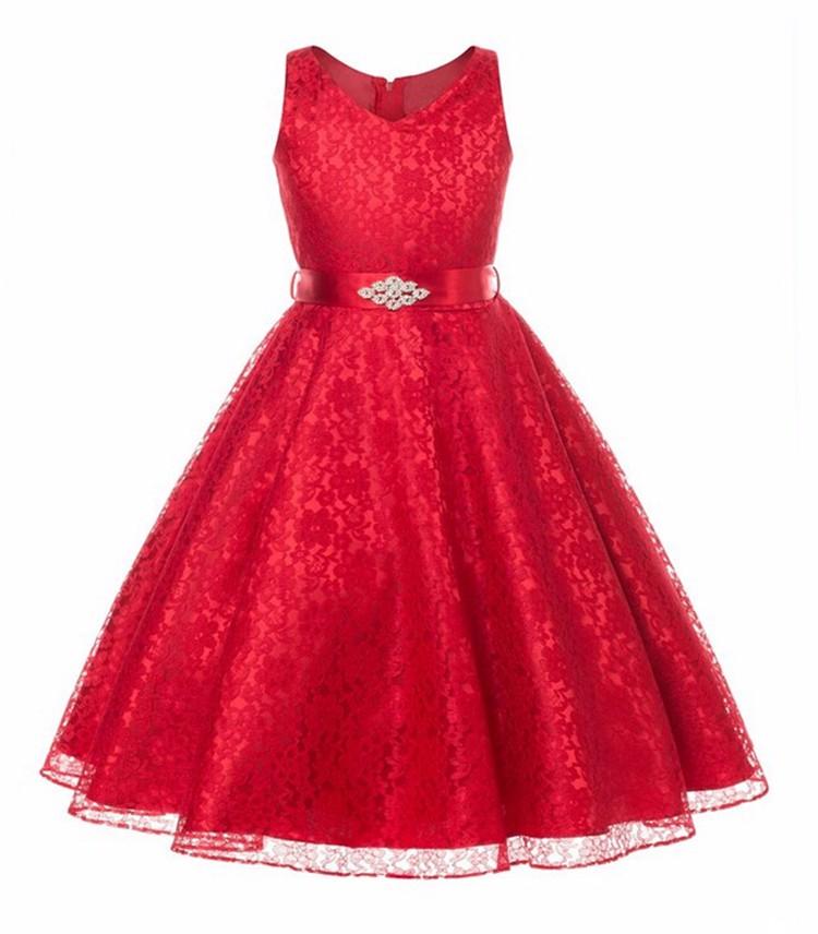 642415d88510 Detské spoločenské čipkové šaty - červené